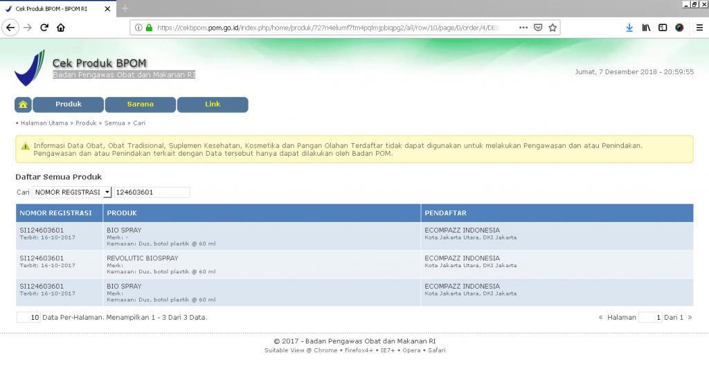 Bpom Bio Spray Bio Nutric Dengan No 124603601